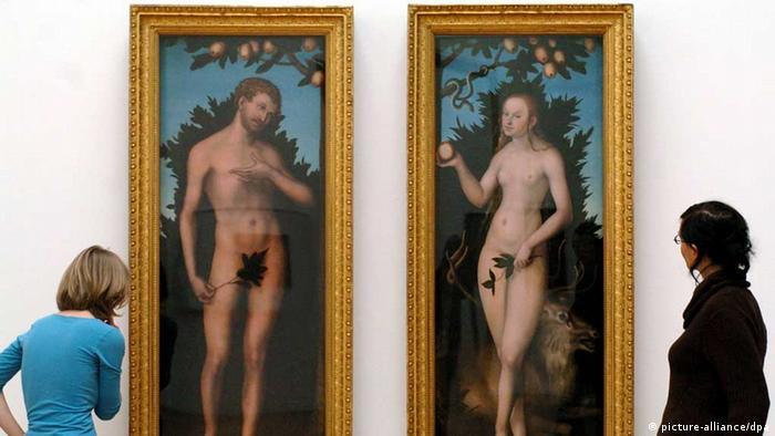 تابلوی آدم و حوا اثر لوکاس کراناخ، نقاش آلمانی قرون ۱۵ و ۱۶ میلادی، در نمایشگاه هنرهای زیبای لایپزیگ