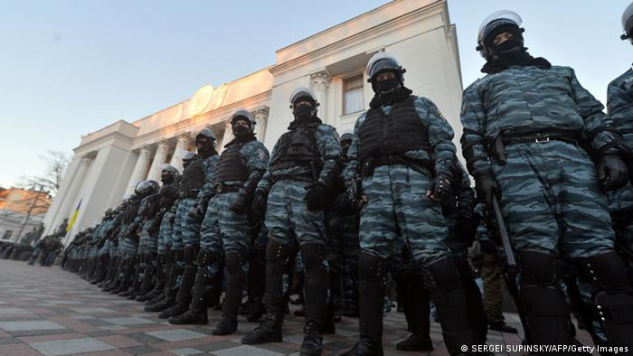 Berkut police at an anti-government protest in Kyiv, Ukraine, on December 3.