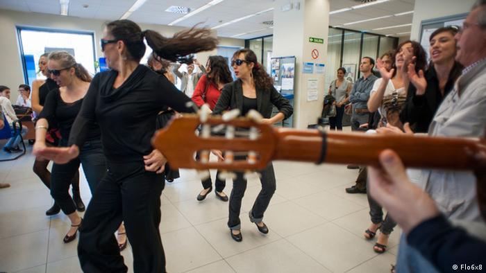 A flamenco flash mob at a bank in southern Spain