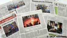 Deutsche Presseschau zur Lage in der Ukraine. Titelseiten. Foto: DW/Per Henriksen DW5_1090. 03.12.2013