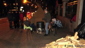 Отапливаемые буржуйками и дровами палатки на Майдане