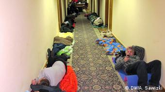 Митингующие спят в коридорах Дома профсоюзов Украины