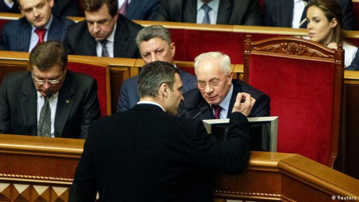Ukraine Vertrauensabstimmung Premierminister Asarow und Klitschko 03.12.2013