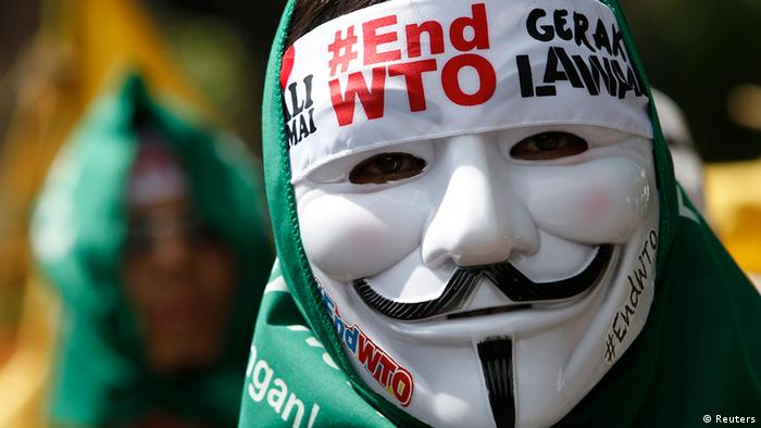 Indonesien WTO Konferenz in Bali Demonstration Demonstrant