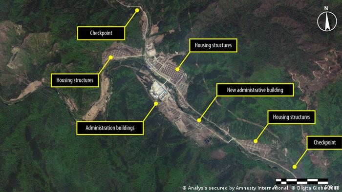 Two satellite images of the same central (administrative) area of Kwanliso 16 taken on May 18 2011 and May 26 2013. (Photo: DigitalGlobe 2013)