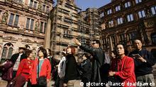 Japanische Reisegruppe im Innenhof des Heidelberger Schlosses