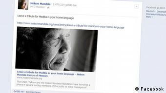 Facebook Nelson Mandela (Screenshot)