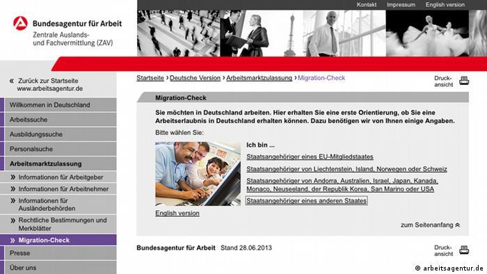 arbeitsagentur.de (Screenshot)