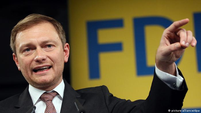 Christian Lindner, newly elected chairman of Free Liberals (FDP) party, delivers a speech at the party convention in Berlin, Germany, 08 December 2013. The previous day, the party convention elected a whole new party board in consequence to the devastating results in the September 2013 federal elections that saw the FDP not making the cut to parliament. Photo: dpa