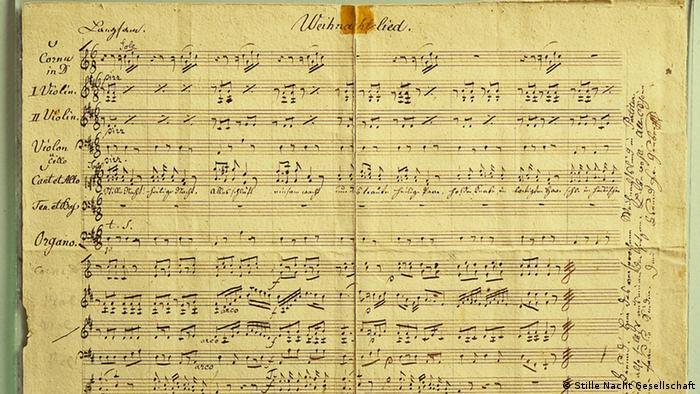 Manuscrito da Canção de Natal de Franz Gruber, para coro e orquestra