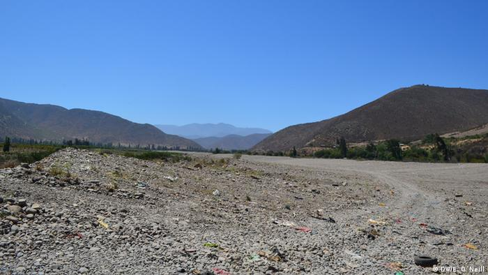 Dry Ligua riverbed in Chile