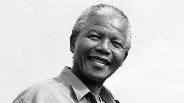 Black-and-white photo of Nelson Mandela