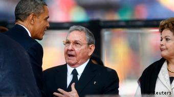 Mandela Trauerfeier Johannesburg 10.12.2013 Obama und Castro