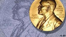 Noblepreis Plakette Nobel Prize medallion over text background, partial graphic
