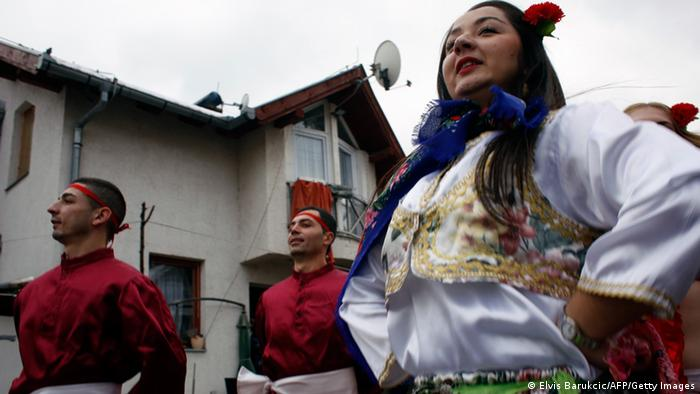 Roma Bosnians showcase the traditional dance in Sarajevo in December. Photo: AFP