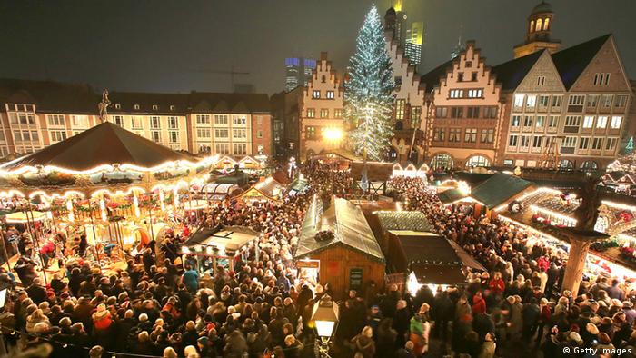 The Christmas market at night with all the festive lights on at the Römerberg in Frankfurt