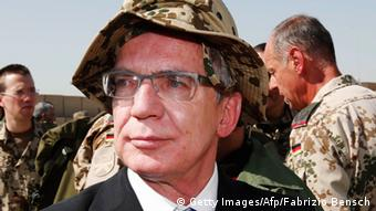 Thomas de Maiziere visiting German troops in Afghanistan Photo: FABRIZIO BENSCH/AFP/Getty Images