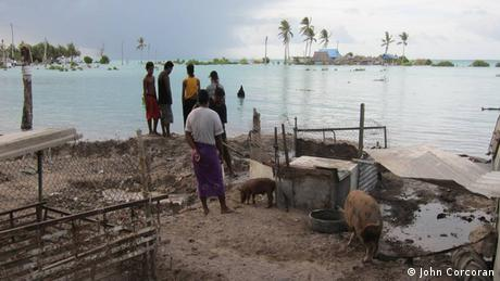 People protecting their land in Kiribati (photo: John Corcoran)