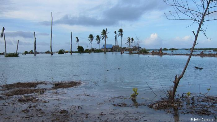 Tides covering the land in Kiribati (photo: John Corcoran)