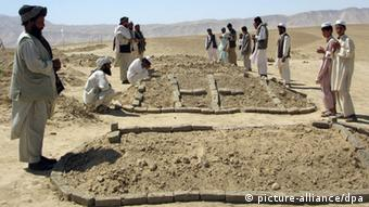 Afghan men standing around graves grieving for family members. (Photo: Ahmad Munir dpa)