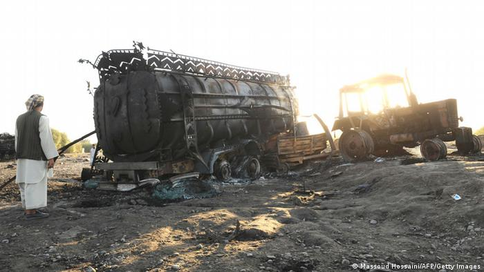 Fuel tanker destroyed by German airstrike. (Photo: MASSOUD HOSSAINI/AFP/Getty Images)