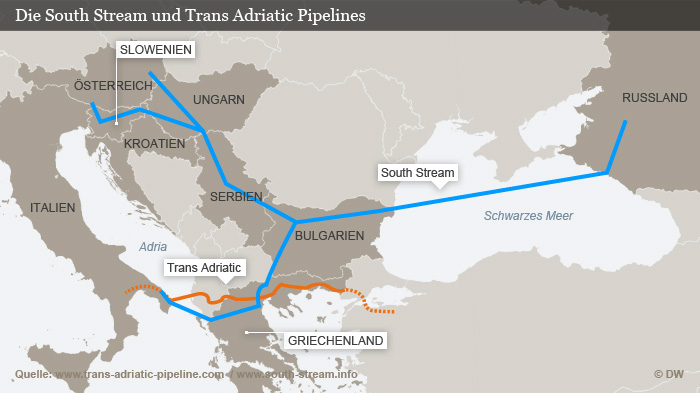 Infografik Die South Stream und Trans-Adriatic Pipelines Deutsch
