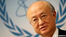 International Atomic Energy Agency (IAEA) Director General Yukiya Amano addresses the media after a board of governors meeting at the IAEA headquarters in Vienna November 28, 2013. Iran has invited U.N. inspectors to visit a nuclear-related heavy water facility on December 8, their chief said on Thursday, a first concrete step under a plan to clarify concerns about Tehran's disputed nuclear programme. REUTERS/Heinz-Peter Bader (AUSTRIA - Tags: POLITICS ENERGY HEADSHOT)