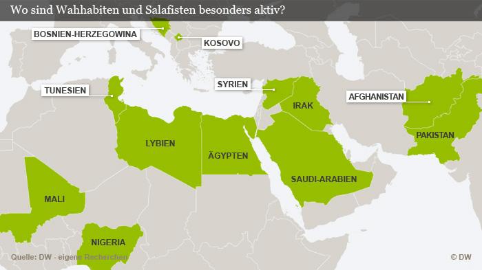 Wo sind Wahhabiten und Salafisten besonders aktiv