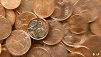 One-, two-, and five-cent euro coins