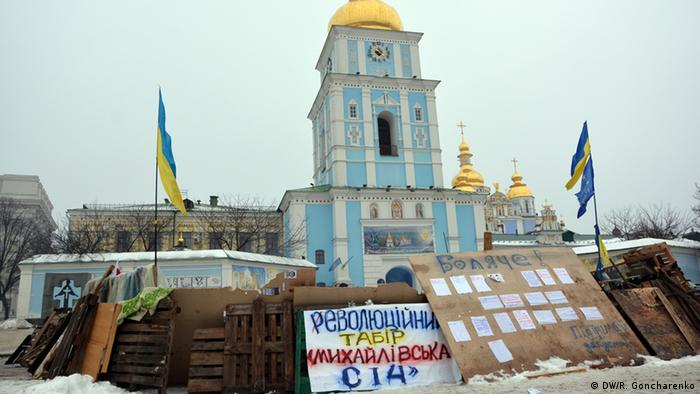 Protesters in front of St. Michael's Monastery in Kyiv