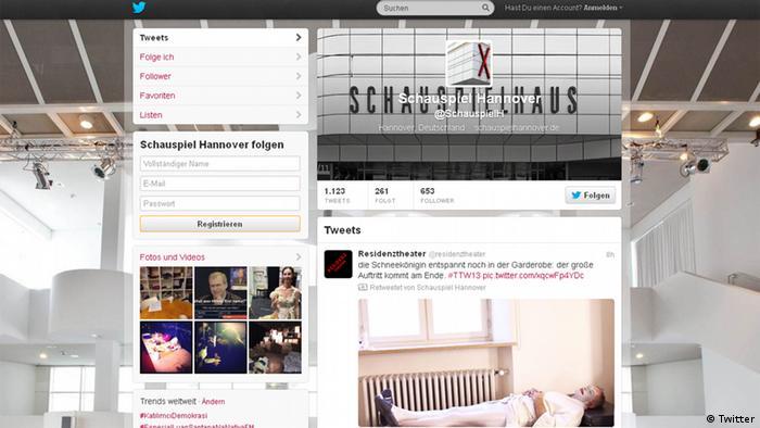 Screenshot der Twitter-Seite des Schauspiel Hannover (Foto: DW)