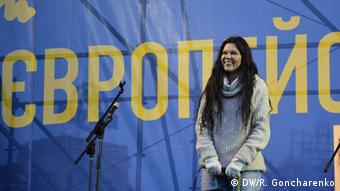 Singer Ruslana on stage at the protests. (Photo: R. Goncharenko/ DW)