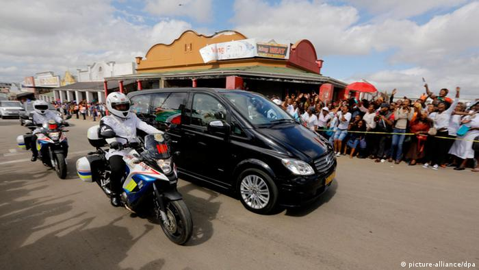 Nelson Mandela's coffin on the way to Qunu