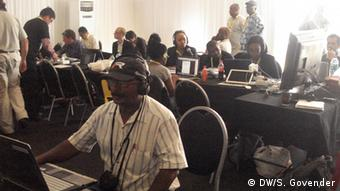 Subry Govender and other journalists at the media center in Qunu