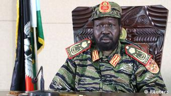 A close-up picture of South Sudan President Salva Kiir wearing military attire.