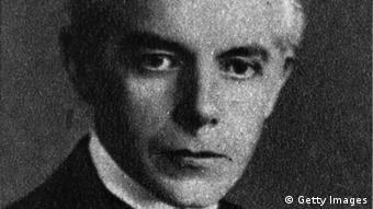 A black and white photograph of Hungarian composer Bela Bartok