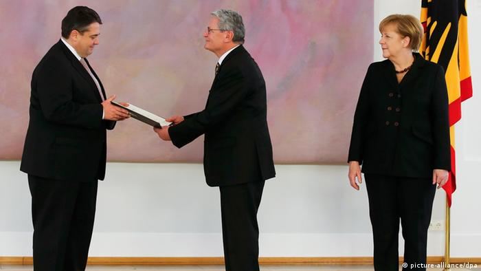 Sigmar Gabriel Joachim Gauck Angela Merkel Vize Kanzler Vereidigung