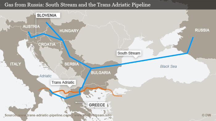 A map of the planned South Stream und Trans Adriatic Pipelines