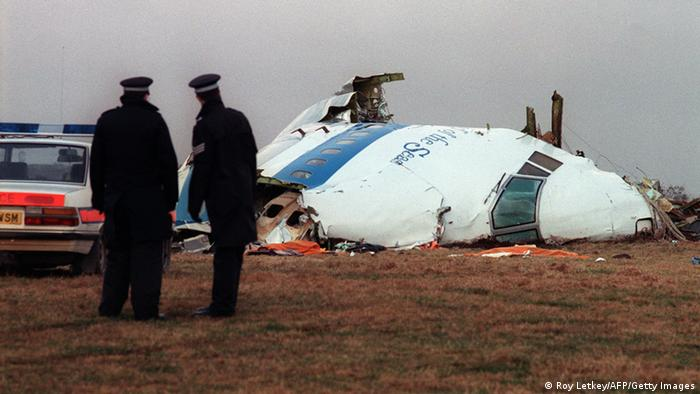 Crash of a jumbo over the small town of Lockerbie in Scotland