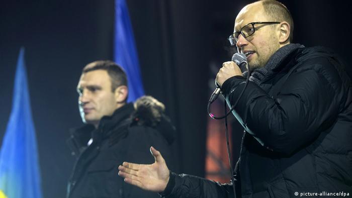 Арсений Яценюк и Виталий Кличко на митинге