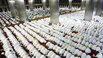 Muslims praying in Jakart mosque