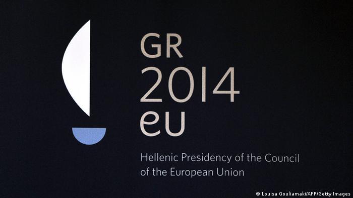 A logo symbolizing Greece's stint as European Council president (C) Louisa Gouliamaki/AFP/GEtty