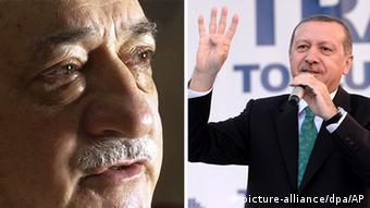 Images of Fethullah Gulen and Turkish Prime Minister Erdogan side by side