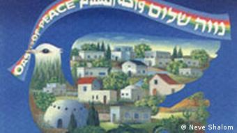 A painting of a dove with buildings inside of it holding a banner that reads 'Oasis of peace' (Neve Shalom)