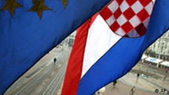 Croatian and European flags
