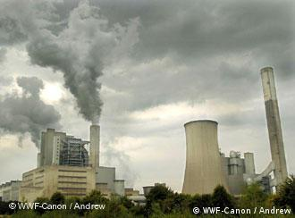 A grey sky fuelled by the smoking chimneys of a German coal-fired power plant in Frimmersdorf, North Rhine-Westphalia.