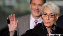 US Under Secretary of State for Political Affairs Wendy Sherman gestures upon her arrival to a meeting on December 20, 2013 at the United Naitons offices in Geneva. UN-Arab League envoy Lakhdar Brahimi kicks off fresh talks with US and Russian negotiators as they seek to smooth the way to January peace talks between Syria's government and rebels. AFP PHOTO / POOL / FABRICE COFFRINI (Photo credit should read FABRICE COFFRINI/AFP/Getty Images)