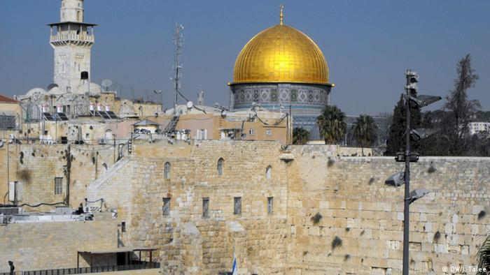 View Over Jerusalems Historic City Center The Western Wall Front And Golden Cupola Of Dome Rock