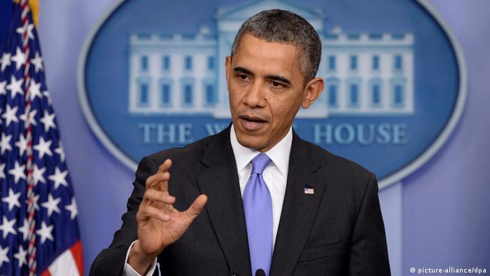 باراک اوباما در کنفرانس مطبوعاتی پایان سال ۲۰۱۳