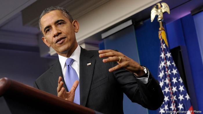 Barack Obama während seiner Jahrespressekonferenz 2013 (Foto: picture alliance/AP Photo)